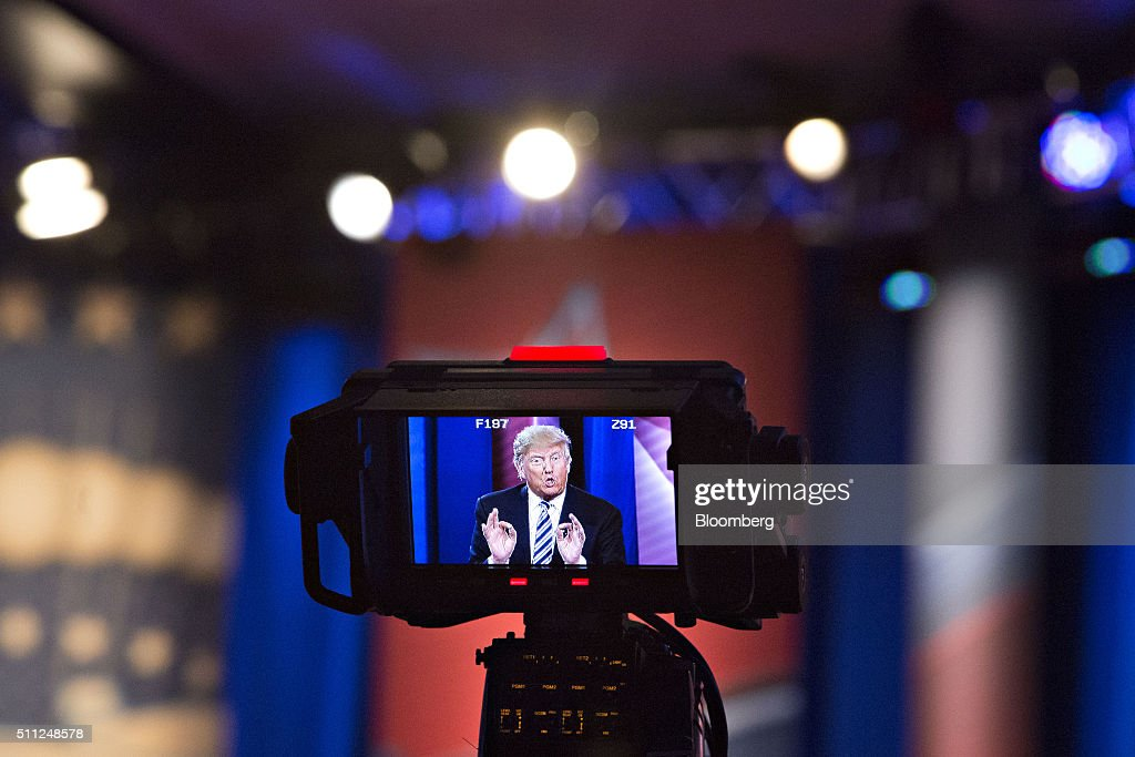 Donald Trump, president and chief executive of Trump Organization Inc. and 2016 Republican presidential candidate, is seen speaking on a television camera monitor during a town hall event hosted by CNN at the University of South Carolina in Columbia, South Carolina, U.S., on Wednesday, Feb. 17, 2016. Trump remains the front-runner in South Carolina, where Republican voters head to the polls on Saturday. According to a survey released Monday by Democratic pollster Public Policy Polling, Trump holds a 17-point lead over Senators Marco Rubio and Ted Cruz, who are tied for second place. Photographer: Daniel Acker/Bloomberg via Getty Images