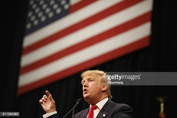 Donald Trump president and chief executive of Trump Organization Inc and 2016 Republican presidential candidate speaks during a campaign rally at the...