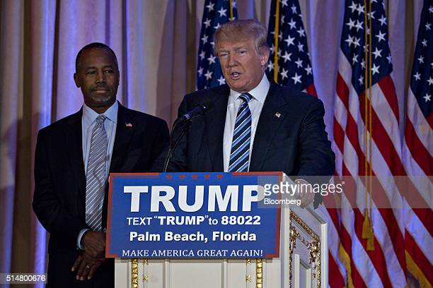 Donald Trump president and chief executive of Trump Organization Inc and 2016 Republican presidential candidate right speaks during a news conference...