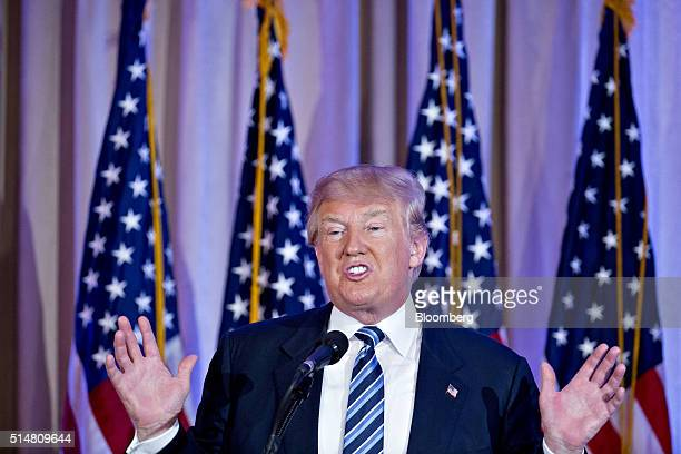 Donald Trump president and chief executive of Trump Organization Inc and 2016 Republican presidential candidate speaks during a news conference at...