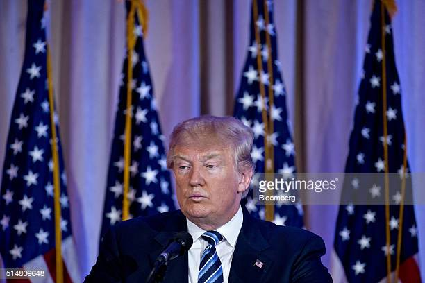 Donald Trump president and chief executive of Trump Organization Inc and 2016 Republican presidential candidate pauses while speaking during a news...