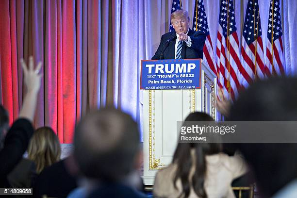 Donald Trump president and chief executive of Trump Organization Inc and 2016 Republican presidential candidate takes a question during a news...