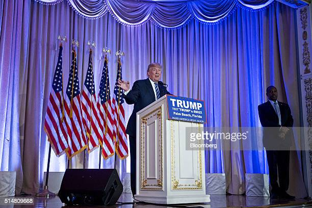 Donald Trump president and chief executive of Trump Organization Inc and 2016 Republican presidential candidate speaks during a news conference with...