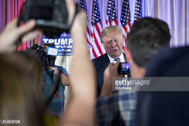Donald Trump president and chief executive of Trump Organization Inc and 2016 Republican presidential candidate speaks to members of the media after...