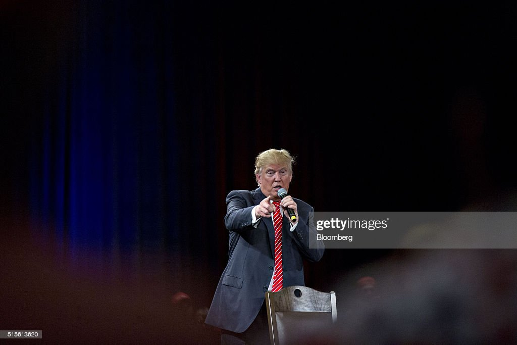 Donald Trump, president and chief executive of Trump Organization Inc. and 2016 Republican presidential candidate, speaks during a town hall event at the Tampa Convention Center in Tampa, Florida, U.S., on Monday, March 14, 2016. As protesters shadow campaign appearances by Trump, the billionaire has shifted a planned Monday-night rally in south Florida to Ohio, where polls show Governor John Kasich may be pulling ahead days before the states primary election. Photographer: Andrew Harrer/Bloomberg via Getty Images
