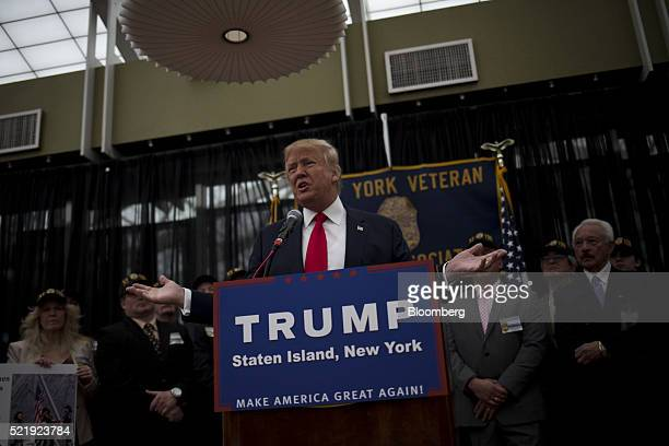 Donald Trump president and chief executive of Trump Organization Inc and 2016 Republican presidential candidate speaks during a news conference in...