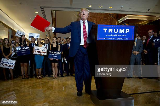 Donald Trump, president and chief executive officer of Trump Organization Inc. And 2016 Republican presidential candidate, gestures after speaking...