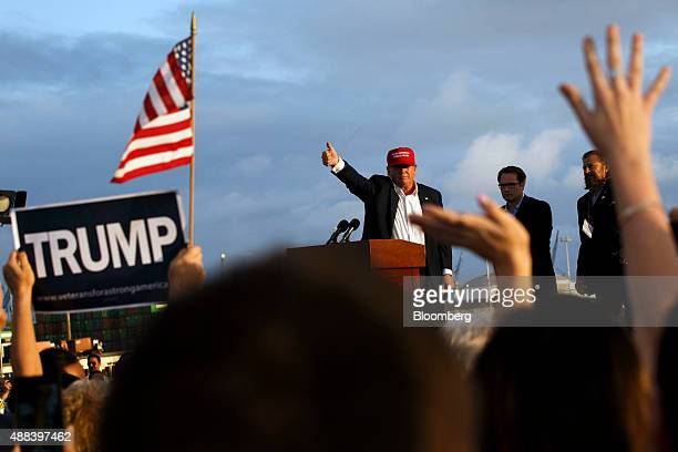 Donald Trump president and chief executive officer of Trump Organization Inc and 2016 Republican presidential candidate gives the thumbsup to the...