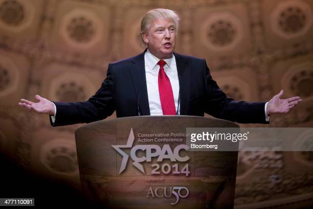 Donald Trump president and chief executive officer of Trump Organization Inc speaks during the Conservative Political Action Conference in National...