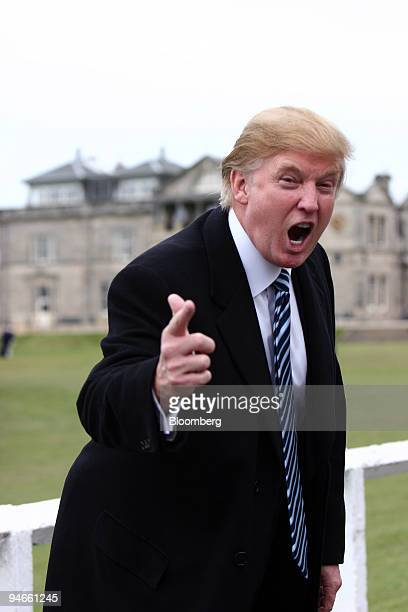 Donald Trump president of Trump Entertainment Resorts jokes with photographers at St Andrews in Scotland Friday April 28 2006 The Scottish government...