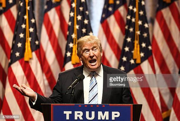 Donald Trump presumptive 2016 Republican presidential nominee speaks during a campaign event in New York US on Saturday July 16 2016 Trump hastily...