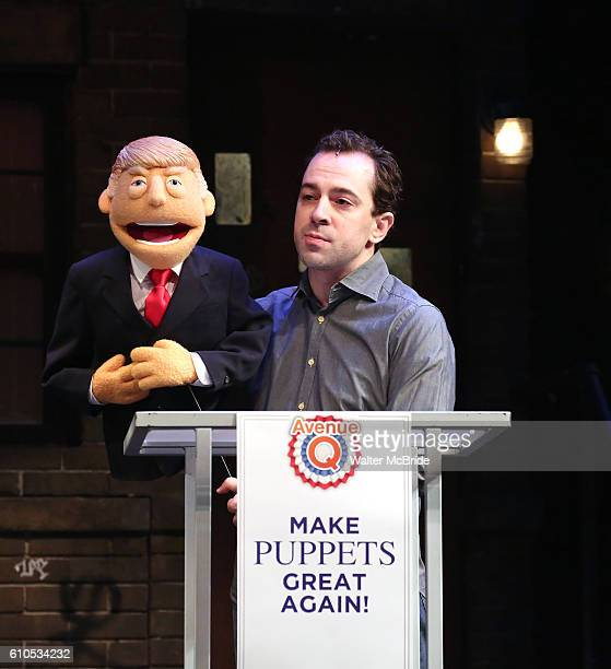 Donald Trump Puppet Puppet during the cast of Avenue Q Hosts Town Hall With A Debate Between Puppets Hillary Clinton I'm with Fur played by Maggie...