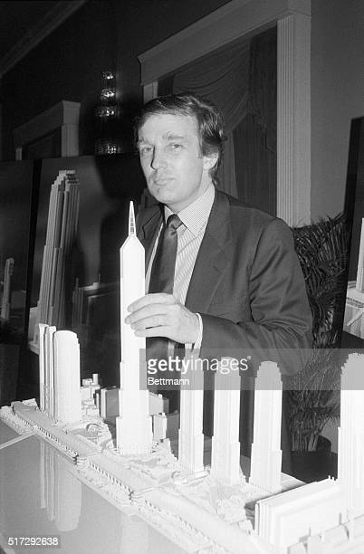 Donald Trump, real estate developer and tycoon, stands with a model of Television City. This called for the development of a huge television and film...