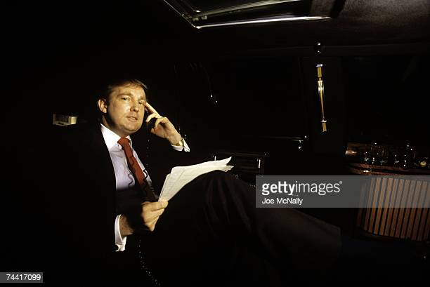 Donald Trump real estate mogul entrepreneur and billionare commutes around New York City in his limousine often using this transportation as an...