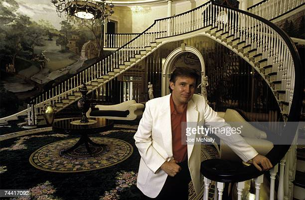 Donald Trump real estate mogul entrepreneur and billionare poses in the foyer of his home in August 1987 in Greenwich Connecticut