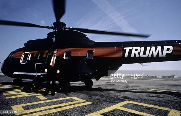 Donald Trump real estate mogul entrepreneur and billionare utilizes his personal helicopter to get around on August 1987 in New York City