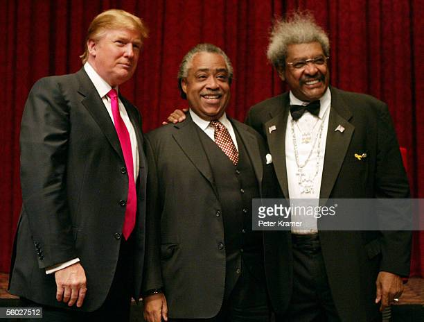 Donald Trump, Reverend Al Sharpton and Boxing promoter Don King attend the roasting of Don King at the Friars Club on October 28, 2005 in New York...