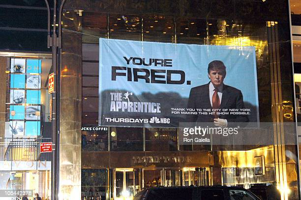 "Donald Trump Sign during Donald Trump's ""The Apprentice"" Sign Thanking New York City at Trump Tower in New York City, New York, United States."