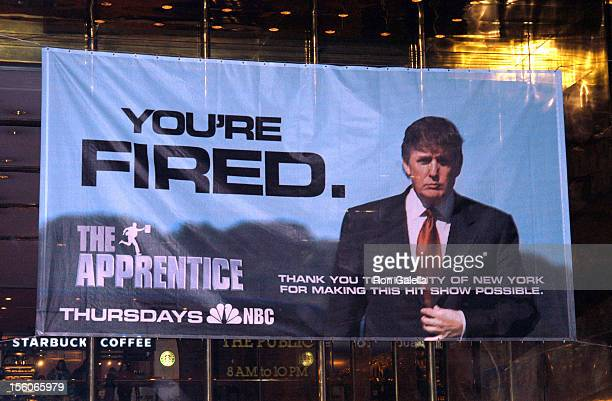 Donald Trump Sign during Donald Trump's 'The Apprentice' Sign Thanking New York City at Trump Tower in New York City New York United States