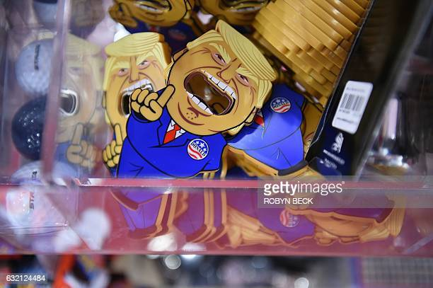 A Donald Trump souvenir is seen for sale in a Washington DC gift shop one day ahead of the inauguration the next US president January 19 2017 / AFP /...