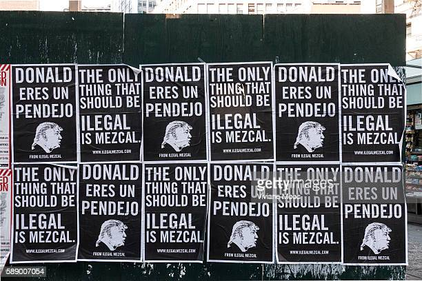 Donald Trump spanish language poster calling him an idiot and The only thing that should be illegal is Mezcal signed and promoted by Ilegal Mezcalcom...