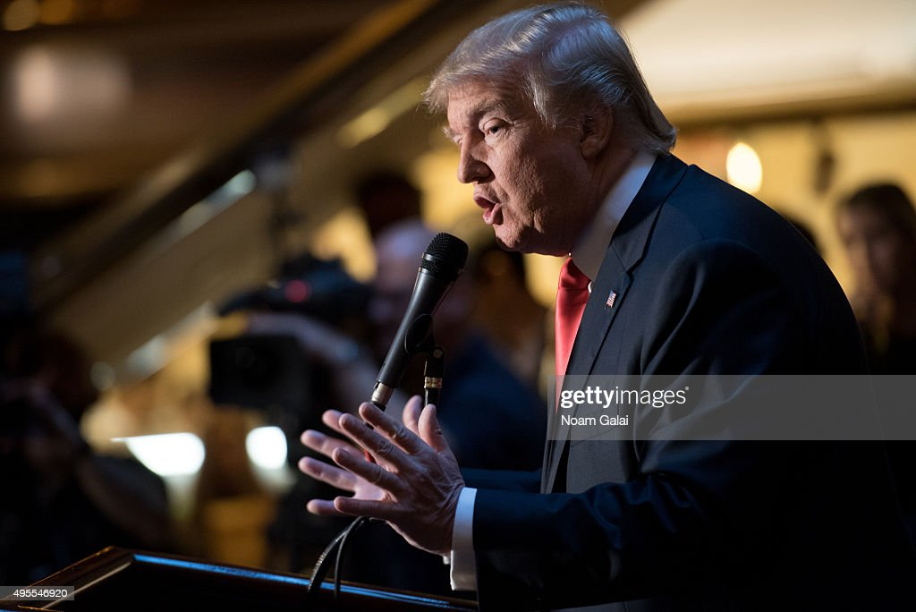 Donald Trump speaks at a press conference for the release of his new book 'Crippled America' at Trump Tower on November 3, 2015 in New York City.