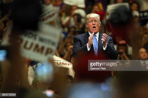 Donald Trump speaks at a rally on May 25 2016 in Anaheim California The presumptive Republican presidential candidate is on a Western campaign swing...