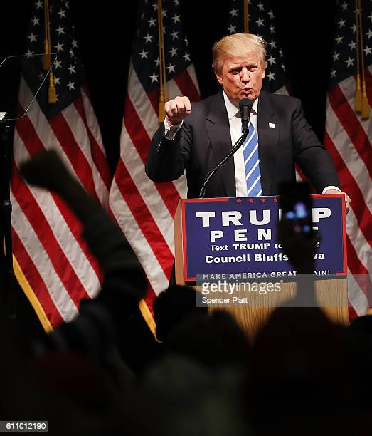 Donald Trump speaks at a rally on September 28, 2016 in Council Bluffs, Iowa. Trump has been campaigning today in Iowa, Wisconsin and Chicago.