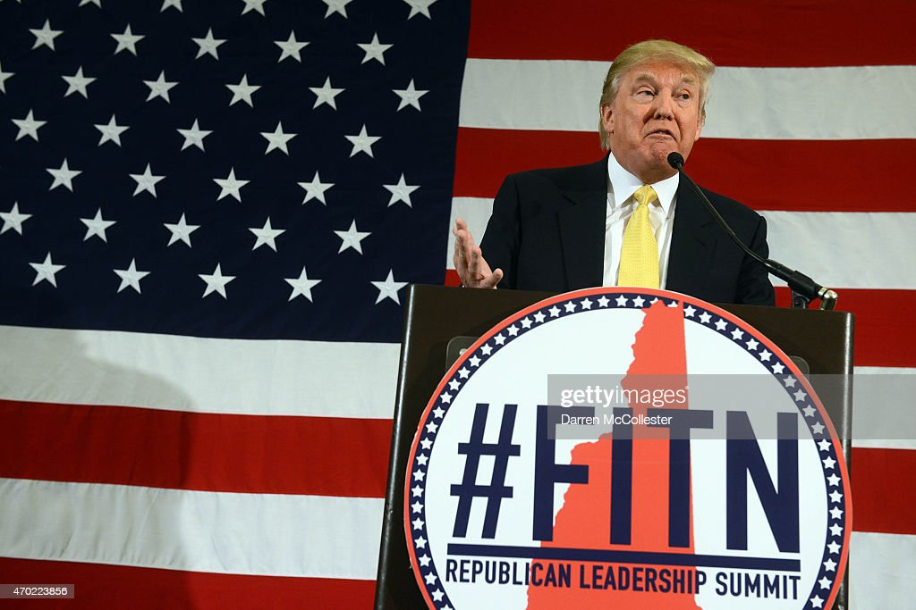 Donald Trump speaks at the First in the Nation Republican Leadership Summit April 18, 2015 in Nashua, New Hampshire. The Summit brought together local and national Republicans and was attended by all the Republicans candidates as well as those eyeing a run for the nomination.