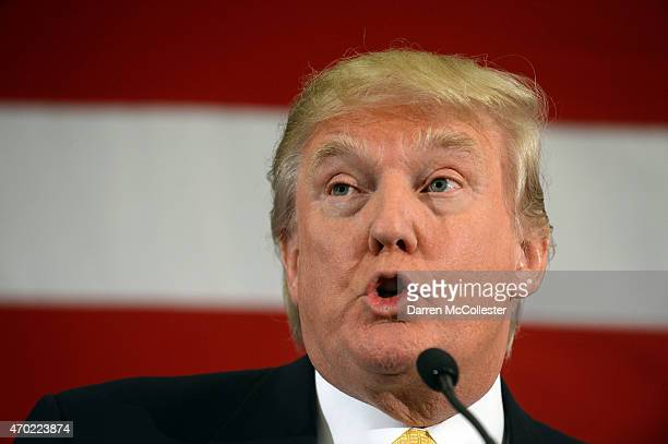 Donald Trump speaks at the First in the Nation Republican Leadership Summit April 18 2015 in Nashua New Hampshire The Summit brought together local...
