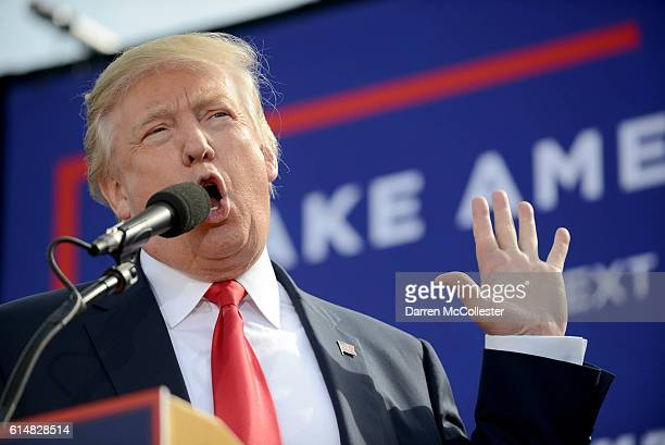 Donald Trump speaks at Toyota Of Portsmouth car dealership on October 15 2016 in Portsmouth New Hampshire Trump is spending the day campaigning in...
