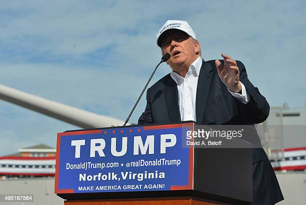Donald Trump speaks at USS Wisconsin on October 31, 2015 in Norfolk, Virginia.