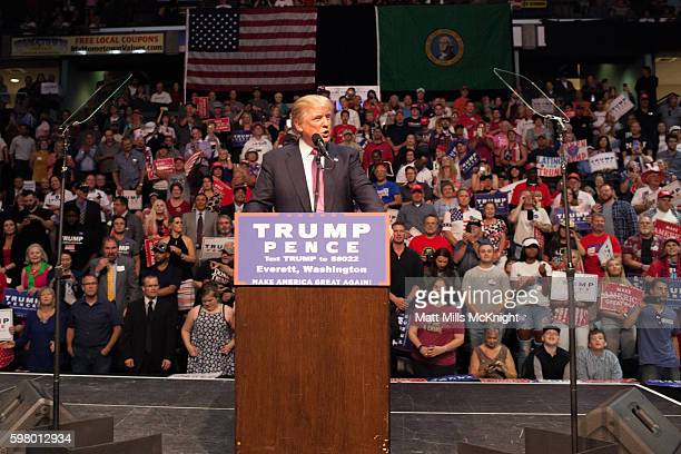 Donald Trump speaks during a campaign rally on August 30 2016 in Everett Washington Trump addressed immigration issues on the same night that his...