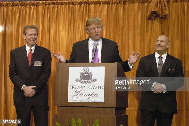 Donald Trump speaks during the press conference Friday afternoon at the location of the Trump Tower Tampa in downtown Tampa on the Hillsborough River...