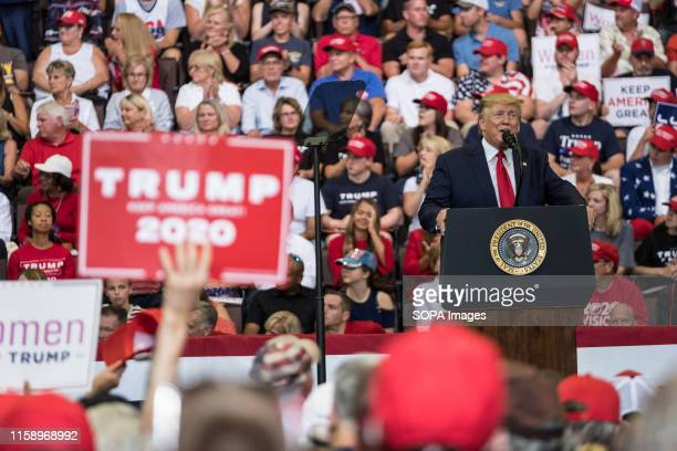 Donald Trump speaks during the rally President Trump and Vice President Mike Pence held a rally at the US Bank Arena in Cincinnati Ohio
