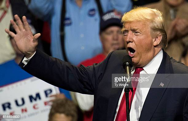 Donald Trump speaks to a crowd of attendees at US Bank Arena on October 13 2016 in Cincinnati Ohio Trump is campaigning in the swing state as the...