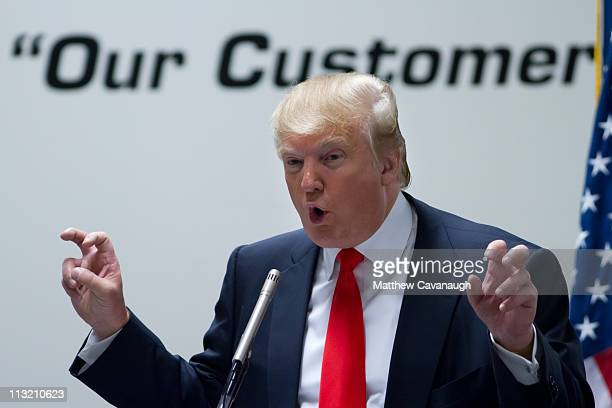 Donald Trump speaks to employees at Wilcox Industries Corporation on April 27 2011 in Newington New Hampshire Trump is testing the waters for a...