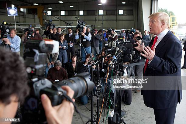 Donald Trump speaks to the media at Pease International Trade Port on April 27 2011 in Portsmouth New Hampshire Trump is testing the waters for a...