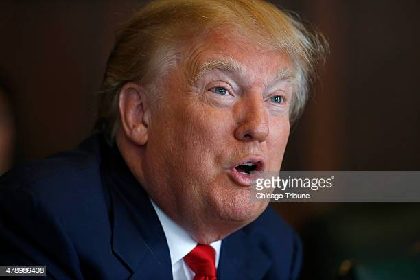 Donald Trump speaks with the Chicago Tribune Editorial Board Monday June 29 2015 in Chicago