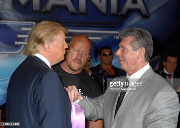 Donald Trump Steve Austin and Vince McMahon during Donald Trump and WWE News Conference for WrestleMania 23 at Trump Tower in New York City New York...