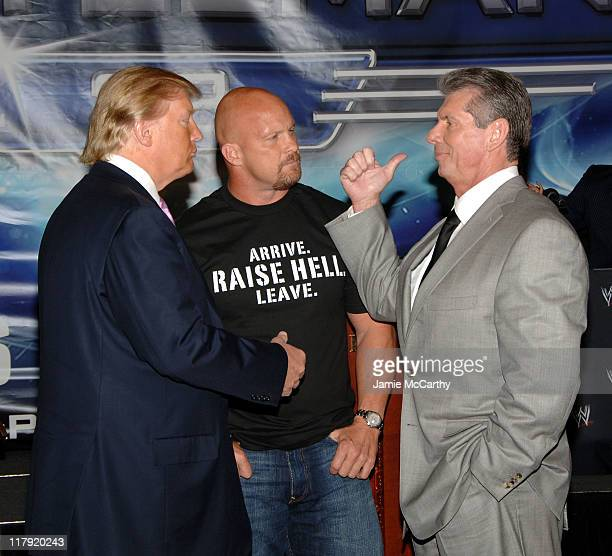 Donald Trump, Stone Cold Steve Austin and WWE Chairman Vince McMahon