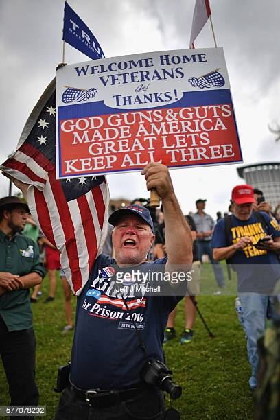 Donald Trump supporter gather at Settlers Park to attend a rally for Trump on the first day of the Republican National Convention on July 18 2016 in...