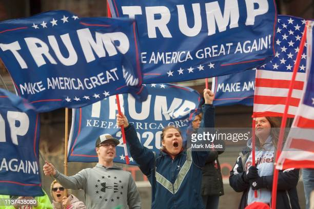 Donald Trump supporters demonstrate outside of a FOX News Town Hall with Democratic presidential candidate US Sen Bernie Sanders at SteelStacks on...