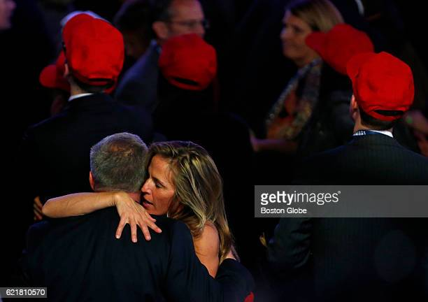 Donald Trump supporters react as the electoral votes roll in for Donald Trump at Republican presidential nominee Donald Trumps election night event...