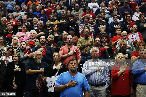 Donald Trump supporters wait for him to speak at a rally on November 4 2016 in Hershey Pennsylvania Days before the presidential election both...