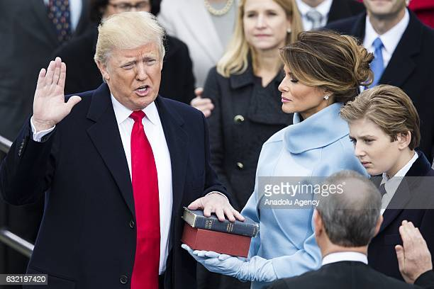 Donald Trump takes the oat of office to become the 45th President of the United States of America during the 58th US Presidential Inauguration in...