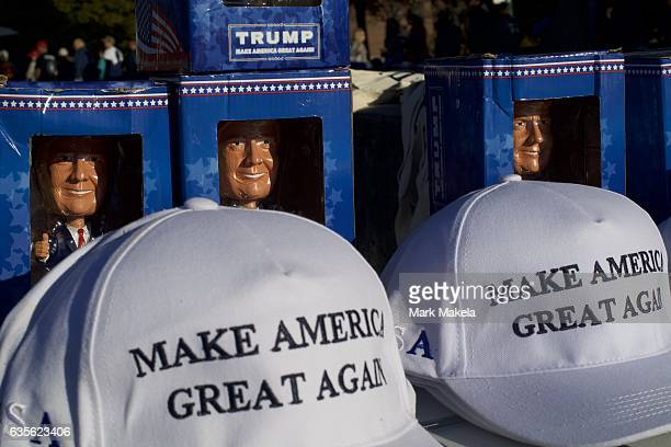 Donald Trump themed merchandise is sold outside before a rally for the Republican Presidential nominee November 4 2016 at Giant Center in Hershey...