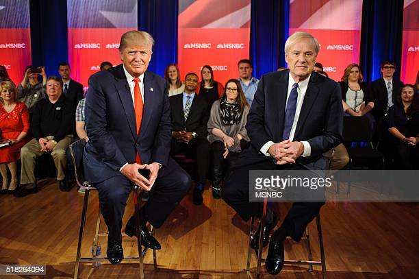 Donald Trump and Chris Matthews during the MSNBC Donald Trump Town Hall on Wednesday March 30 2016 from the University of Wisconsin in Madison...