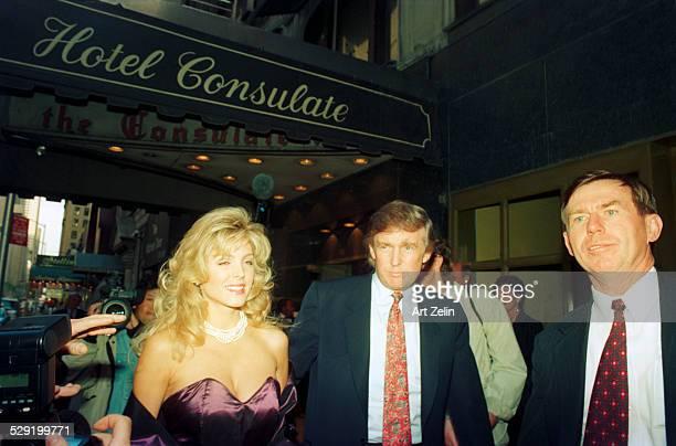 Donald Trump wih Marla Maples outside the Consulate circa 1980 New York