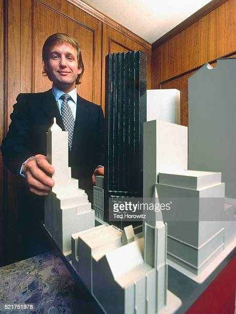 Donald Trump with model of Trump Tower, NYC, 1980.